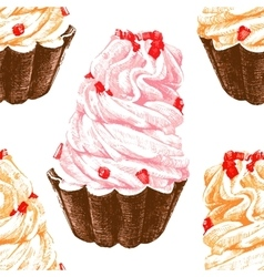 Hand drawn seamless pattern with cupcakes vector