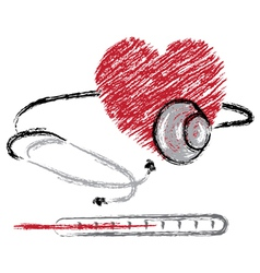 Heart stethoscope and thermomete vector