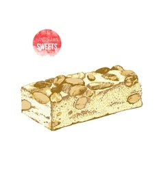 Hand drawn nougat with nuts vector