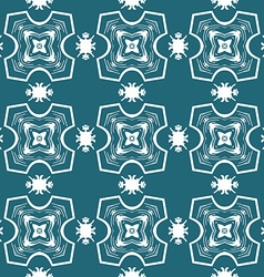 Seamless ornate pattern in white on blue vector