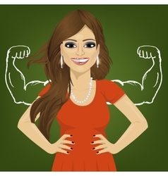 Woman with strong arm muscles standing vector