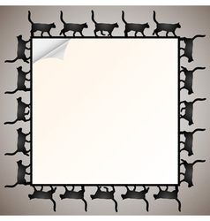 frame with silhouette black cat vector image