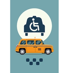 Taxi with wheelchair access vector