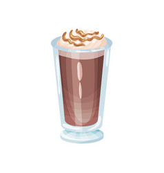 cappuccino frappe with whipping cream refreshment vector image