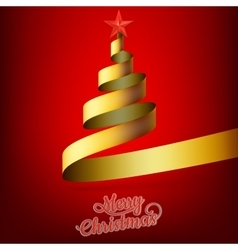 Christmas tree from gold ribbon and star EPS 10 vector image vector image