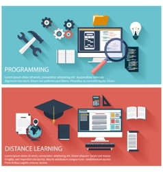 Concept of program coding and distance education vector