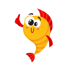 cute funny golden yellow fish character with vector image vector image