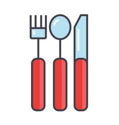 cutlery concept line icon editable stroke vector image vector image