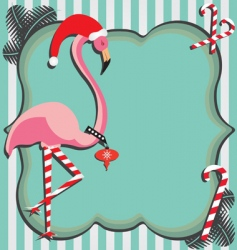 flamingo christmas card vector image vector image