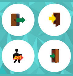Flat icon emergency set of directional entrance vector