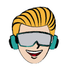 Guy avatar wearing goggles headphones device vector