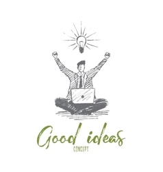 Hand drawn businessman got good idea lettering vector image vector image