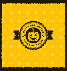 happy halloween badge sticker label with seamless vector image vector image