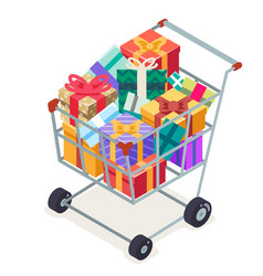 isometric 3d shopping cart purchase goods gift vector image vector image