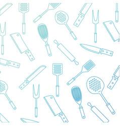 kitchen utensils pattern degraded blue color vector image vector image