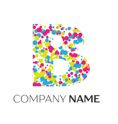 Letter b logo with blue yellow red particles vector