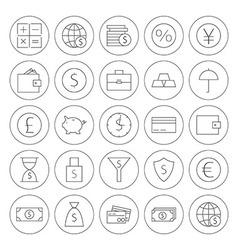 Line circle money finance banking icons set vector