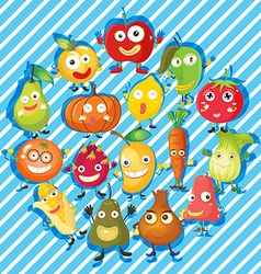 Many kind of fruits and vegetables vector image vector image