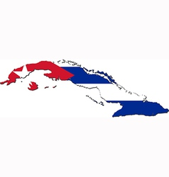 Map of Cuba with national flag vector image