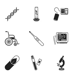 Medicine and hospital set icons in black style vector