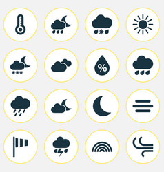 Meteorology icons set collection of breeze rainy vector