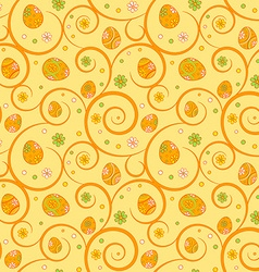 Orange easter seamless pattern with ornate eggs vector