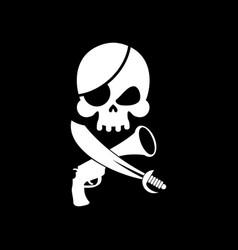 pirate flag skull black banner filibuster head vector image vector image