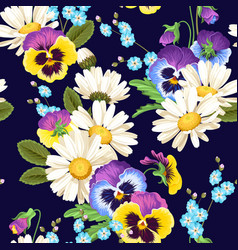 Seamless pansies and camomiles vector