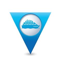 Ship icon map pointer blue vector