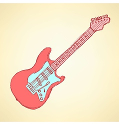 Sketch electric guitar musical instrument vector image vector image