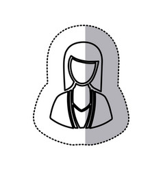 Sticker monochrome half body silhouette woman vector