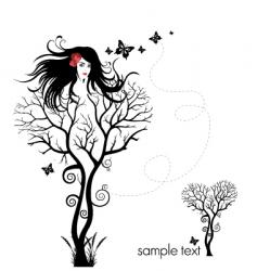 tree woman abstract vector image vector image