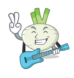 With guitar turnip mascot cartoon style vector