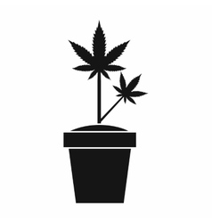 Hemp in pot icon simple style vector