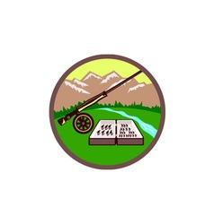 Fly box rod mountains circle retro vector