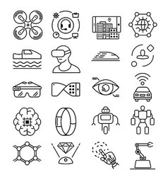Modern thin line icons set of future technology vector image