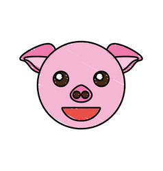 Cute piggy drawing animal vector