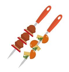 shish kebab on skewers with pork and mushrooms vector image