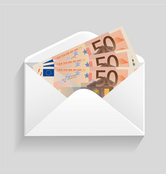 open envelope and 50 euro bills cash vector image