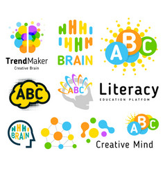 Creative brain genius school human development vector