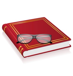 Red book and glasses vector