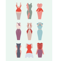 Collection woman dresses vector
