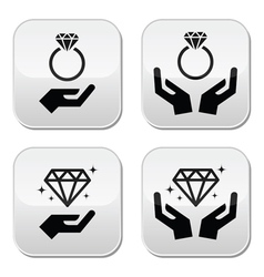 Diamond engagement ring with hands buttons vector