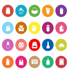 Variety food package flat icons on white vector