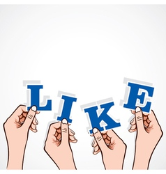 Like word in hand vector