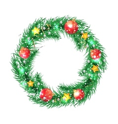Green christmas tree wreath with christmas vector