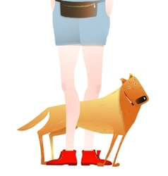 Smiling red dog standing near feet of man or woman vector