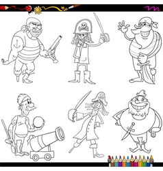 Fantasy pirates cartoon coloring page vector