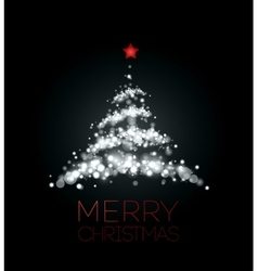 Shiny christmas tree in black poster vector