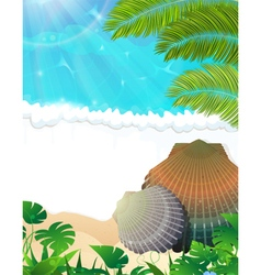 Sunny tropical beach vector